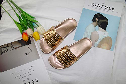 Fondo Casa Cara Zapatos Antideslizante Con Gold Guang Cadena 38 Zapatillas black 45 Xing Zapatillas Plano De Oro Sandalias CwPR0CxqA