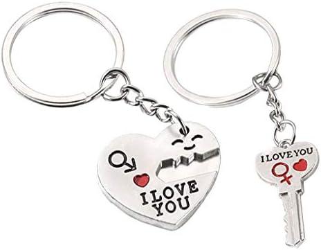 キーホルダー メンズ レディース キーリング キーチェーン 合金製 心型 鍵型 恋人 バレンタインデー ギフト
