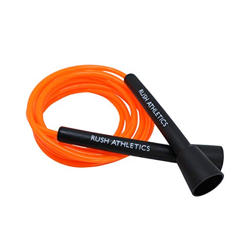 RUSH ATHLETICS Speed Rope Orange - Best for Boxing MMA Cardio Fitness Training - Speed - Adjustable 10ft Jump Rope Sold (Best Skipping Rope Uk)
