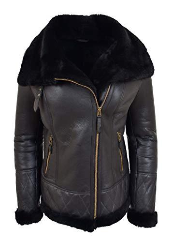 Womens Genuine Sheepskin Jacket Double Face Black Merino Shearling Aviator Coat - Alexa (X-Large)
