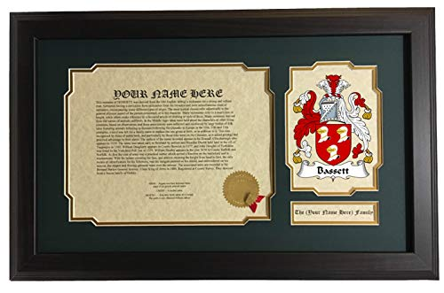 Bassett Cottage Collection - Bassett - Coat of Arms and Last Name History, 14x22 Inches Matted and Framed
