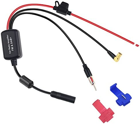FM/Am Dab Radio Digital Amplificador de señal Antena, Adaptador de SMB de Antena Dab, Radio Amplificador con Anillo magnético, Fuce para Sistema de ...