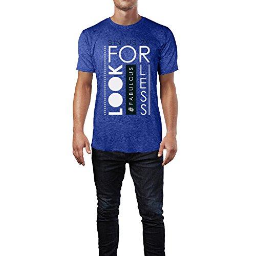 SINUS ART® Look #Fabulous For Less Herren T-Shirts in Vintage Blau Cooles Fun Shirt mit tollen Aufdruck