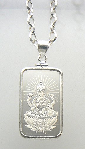 sterling-silver-925-necklace-bezel-chain-with-solid-silver-10-gram-bar-999-religious-lakshmi-green-b