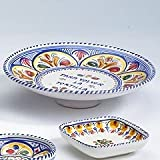 El Puente del Arzobispo Hand Painted Ceramic Spanish Tortilla Plate (10 in wide)