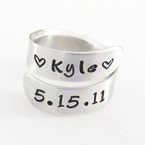 Date Ring (Personalized child name and birth date ring for mom dad with hearts - Aluminum birthdate and name jewelry - Gift for wife husband)