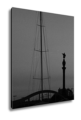 Ashley Canvas The Statue Of Christopher Colombus At The Port Of Barcelona Spain, Wall Art Home Decor, Ready to Hang, Black/White, 20x16, AG6377299 by Ashley Canvas