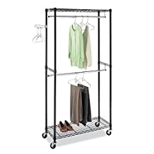Whitmor 6070-3366-BB Supreme Double Rod Garment Rack, Black