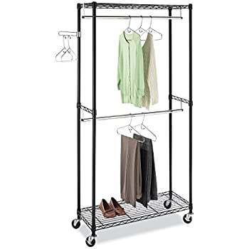 Whitmor Supreme Double Rod Garment Rack Black Chrome With Wheels