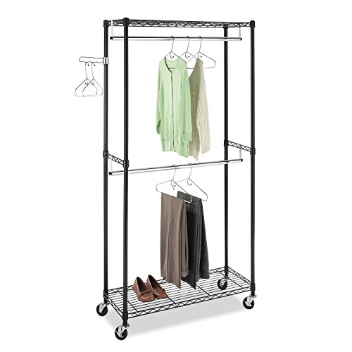 Whitmor Supreme Double Rod Garment Rack Rolling Clothes Organizer - Black with (Rolling Closet)
