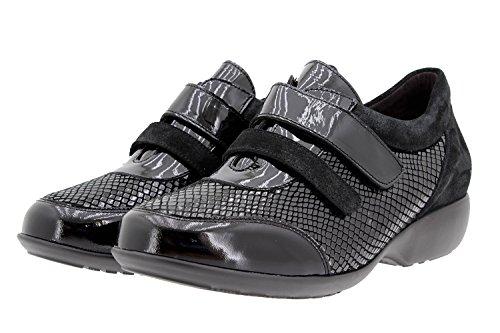 Calzado mujer confort de piel Piesanto 9686 zapato velcro casual cómodo ancho Negro