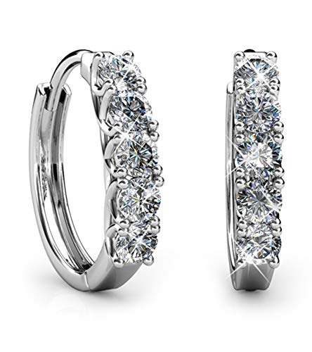 (Jade Marie Amazon 2018 Courageous Small White Gold Plated Hoop Earrings, Silver Hoops with Brilliant Round Cut Swarovski Crystals, 5 Stone Hypoallergenic)