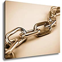 Ashley Canvas Chrome Chain With A Red Link, Kitchen Bedroom Living Room Art, Sepia 24x30, AG6054661