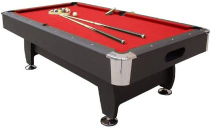 Mesa de billar inglés con 8 patas, incluye accesorios, color rojo ...