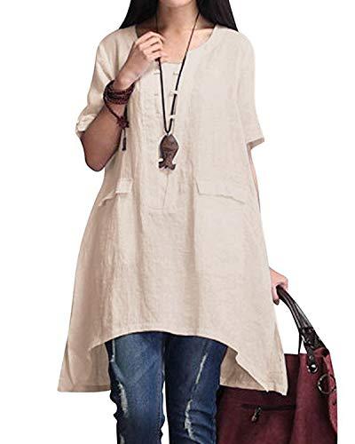 BBYES Womens Summer Loose Fit Plain Linen Short Sleeve Blouse Shirt Tunic Dress Beige XL