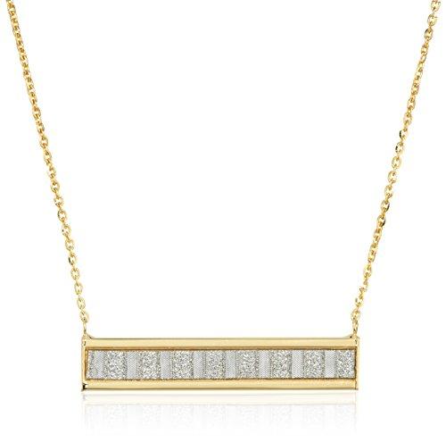 10k Italian Yellow Gold Baguette Glitter Bar Necklace, 18
