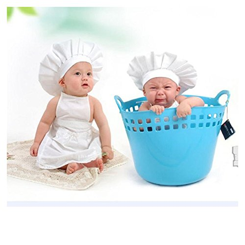 Newborn Photo Costume, FTXJ Cute Baby White Chef Hat with Apron Photography Outfit (Cute And Creative Costumes)