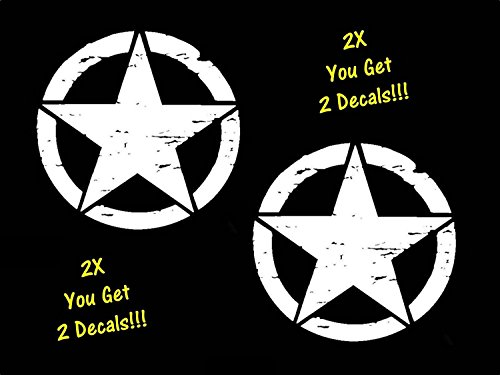 Bluegrass Star - Bluegrass Decals 2-Pack Distressed Stars 5.50 Inches x 5.50 Inches White Vinyl Military Decal Sticker