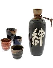 """Kotobuki 120-940""""Kizuna"""" Japanese Kanji Calligraphy Sake Set"""