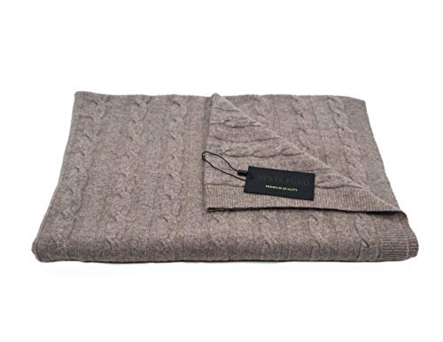 - State Fusio Wool Cashmere Classic Cable Knit Travel Blanket