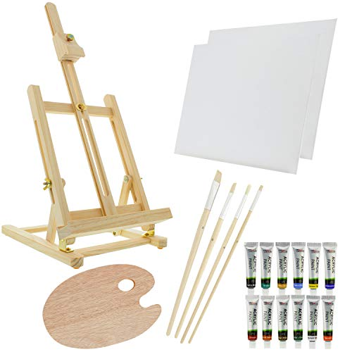 US Art Supply 21-Piece Wood Studio Table Easel & Paint Box Set with 12 Paint Colors, Canvas Panels, Brushes, Wood Palette (Acrylic Paint Kit) ()