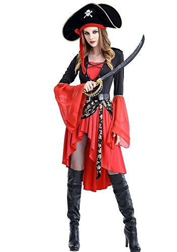 Wish Costume Shop Pirate Costume Women's Classic Pirates Queen Dress Halloween Cosplay Costumes (XXL, Red) -