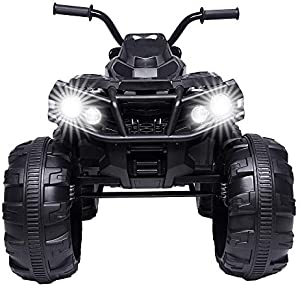 DealmerryUS Kids Electric 4-Wheeler ATV Quad Ride On Car Toy 12V Battery Powered Electric Vehicle Ride On Toy Car w/ LED Headlights, Horn & MP3 Player, 2 Speeds, USB& TF Port(Black)