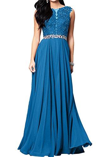Toscana sposa romantica Nuovo Pizzo vino rosso pietra Chiffon a linea di sera vestiti da pavimento lungo Party vestiti prom abiti Blau 46