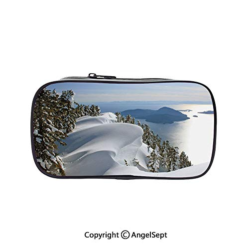 Pen Case Office College School Large Storage,Pacific Ocean Meets The Mountains Vancouver British Columbia Canada Wilderness Scenery Decorative 5.1inches,Box Organizer New Arrival]()