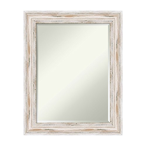 Amanti Art Alexandria White Wash Wall Mirror, Medium Large-23 x 29 (Cream Framed Mirror Wall)