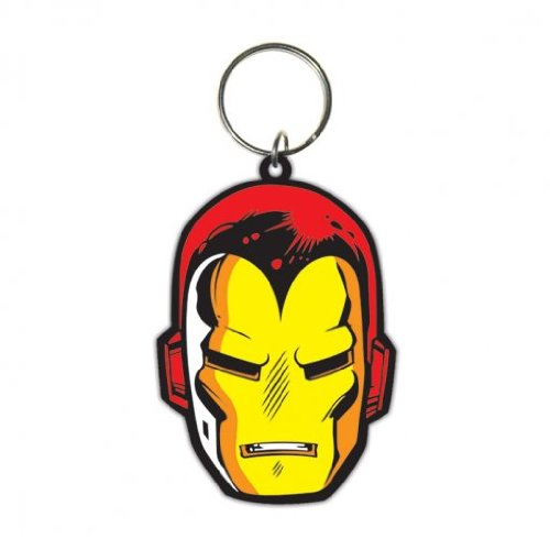 - The Invincible Iron Man - Marvel Merchandise - Rubber Keychain / Keyring (Face) (Size: 1.5