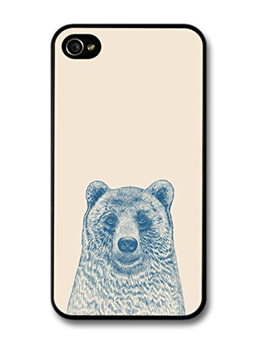 Cool Cute Funny Bear Illustration in Blue Hand Drawn Style case for iPhone 4 4S