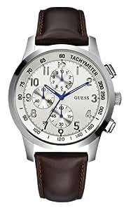 Guess Coastal W13530G2 - Reloj de caballero de cuarzo, correa de piel color marrón (con cronómetro)