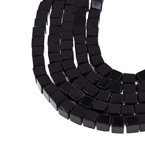 Calvas 8mm Natural Black Onyx Beads agat agatee Cube Full Strand Jewelry Making