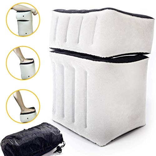ComfyHouse Travel Foot Rest Pillow - 2-in-1 Inflatable Leg Rest for Travel, Home, Office, Kids Airbed and Airplane - Blow-Up Cushion