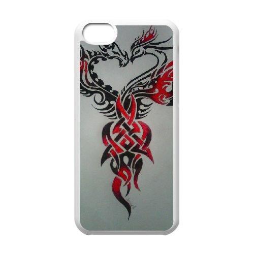 Dragon Tribal 004 coque iPhone 5C Housse Blanc téléphone portable couverture de cas coque EOKXLLNCD19659