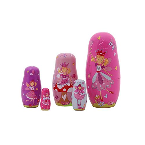 5pcs Hand Painted Pink Angel Wooden Russian Nesting Dolls - 1