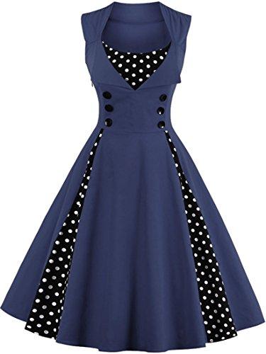 Jiuzhoudeal Women's 1950s Vintage Sleeveless Retro Swing Party Classy Dress (XX-Large, Blue)]()