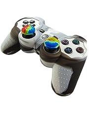 Pandaren® Silikon hülle skin für PS3 controller (schwarz + weiß) x 1 + thumb grip aufsätze x 2