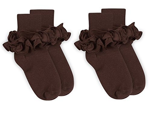 Jefferies Socks Girls Misty Ruffle Turn Cuff Socks 2 Pair Pack (XS - USA Shoe 6-11 - Age 2-4 Years, Chocolate)