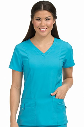 Med Couture Activate Women's V-Neck Princess Seam Scrub Top, Sky Blue, X-Small