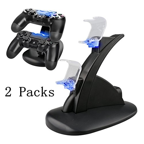 YB-OSANA 2 Packs Dual USB Charging Charger Docking Station Stand for Playstation 4 PS4 / PS4 Pro / PS4 Slim Controller Stand Charger PS4 Dual Charging Station