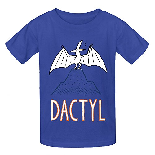 Dactyl Dinosaur Funny Girls Crew Neck Graphic T Shirts Blue (Goblin Outfit)