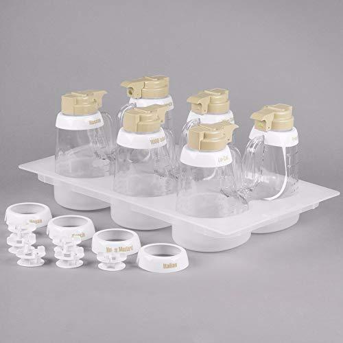 TableTop King 484 48 oz. Beige ABS Top Clear Salad Dressing Dispenser Set ()