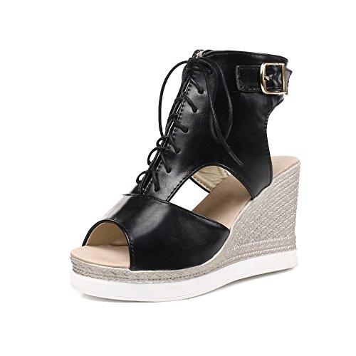 Taille Black Poisson Grande Cravate Femmes Bouche Pente Creux Chaussures Sandales Romain nqwBvxPw0