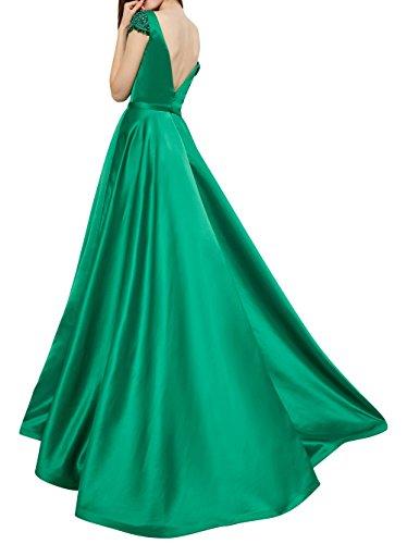 Abendkleider Brau Ausschnitt Lang La Linie Festlichkleider Tief Kurzarm A Satin V mia Blau mit Sexy Ballkleider Brautmutterkleider gS5R50q