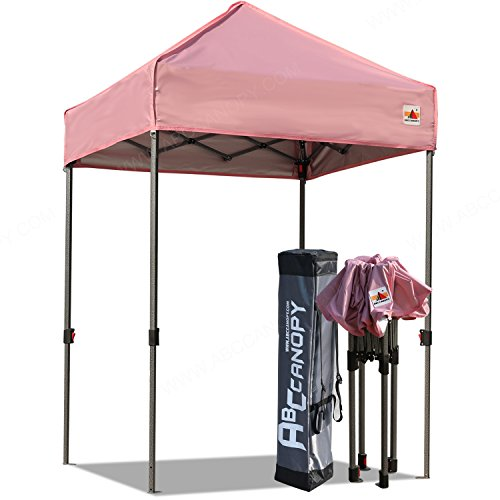 ABCCANOPY Pop Up Canopy 5'x5′ Portable Canopy Tent Bonus Carry Bag and Tent Stakes (Pink)