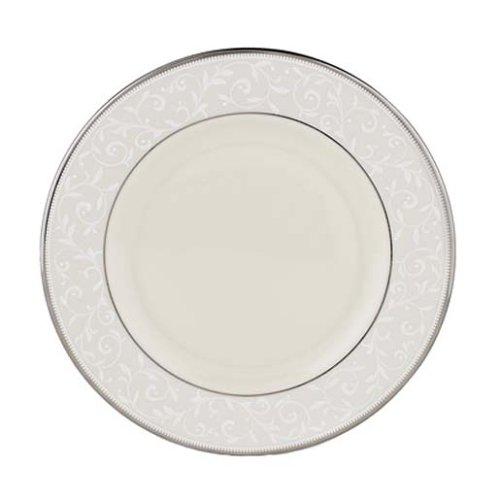 China Ivory Banded Plate Salad - Lenox Pearl Innocence Platinum Banded Ivory China Salad Plate