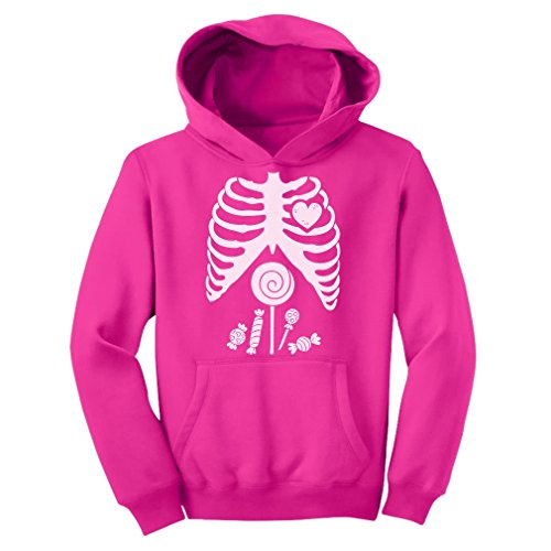 - Tstars Children Skeleton Candy Rib-cage X-Ray Halloween Funny Youth Hoodie Small Pink