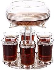6 Shot Glass Dispenser and Holder with 6 Pcs Acrylic Cup, Wine Decanter and Bar Shot Dispenser, Cocktail Dispenser, Dispenser For Filling Liquids, Carrier Liquor Dispenser Drinking Tool for Party, Meeting